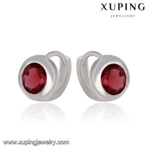 91599 Xuping Fashion Rhodium Elegant CZ Diamond Imitation Jewelry Baby Earring Hoop pictures & photos