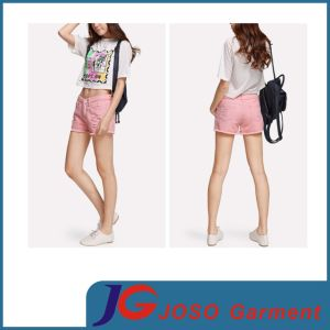 Fashion Pink Colored Ripped Short Jeans for Girls (JC6103) pictures & photos