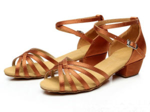 Girl′s Dark Tan Satin Latin Dance Shoesfrom Size 23-40 pictures & photos