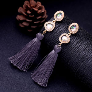 Hot Sale Retro Elegant Ethnic Colorful Gemstone Studded Tassel Earrings for Women pictures & photos