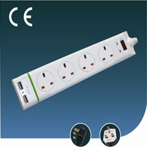 Four Ways British Socket with Green- Line and USB
