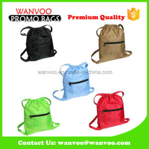 190t Polyester Drawstring Sport Bag W / Zip Pocket pictures & photos