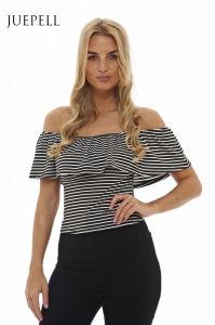 off Shoulder Stripe Women Blouse pictures & photos