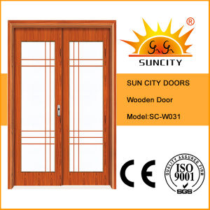 Good Quality Design Double Leafs Sliding Glass Wooden Door (SC-W031) pictures & photos