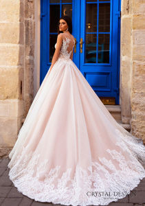 Blush Pink Bridal Gowns Tulle French Lace Sheer Back Wedding Dress Lb2017728 pictures & photos