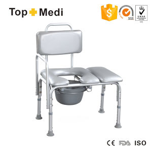 Topmedi Bathroom Safety Equipment Height-Adjustable Aluminum Bath Bench with Commode pictures & photos