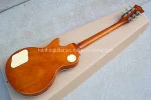 Hanhai Music / Lp Style Electric Guitar with Sunburst Body and White Binding pictures & photos