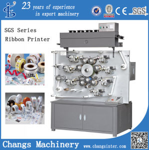 Multicolor Double Side High Speed Rotary Garment Wash Label Ribbon Satin Printing Machine pictures & photos