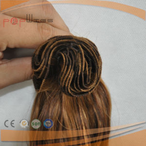 Blond Mixed Warm Brown Color Human Hair Sewing Hand Tied Weft Hair Weaving pictures & photos