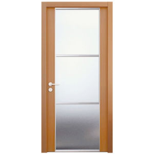 Oppein Brown Wood Frame Glass Interior Security Door (MSLD02) pictures & photos