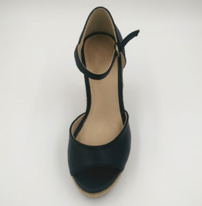 Black PU Women Wedge Sandal pictures & photos