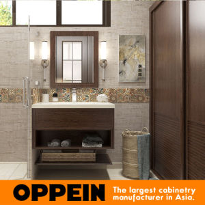 Oppein Bohemia PVC Wood Grain Wholesale Bathroom Cabinets Vanity (BC16-P01) pictures & photos