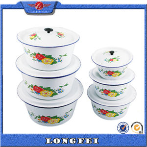 14-28 Cm White Color Enamel Washing up Bowl with Lid pictures & photos