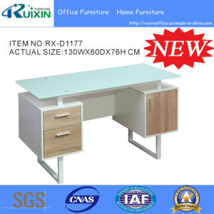 Newly Design Glass Computer Desk with Cabinet (RX-D1177) pictures & photos