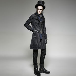 Y-705 Punk Rave Brand Gothic Corduroy Twill Flower Pattern Long Coat pictures & photos