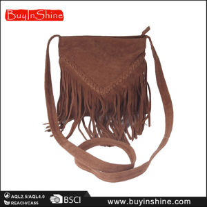 Brown Braided Fringes Lady Shoulder Hand Bag