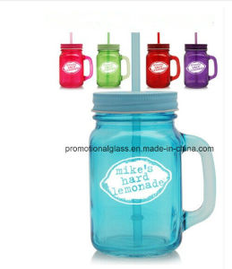 Hot Sale 16oz Colored Mason Jar with Straw