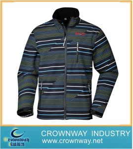Men′s Striped Sport Outdoor Softshell Jacket for Warm (CW-MSOFTS-8) pictures & photos