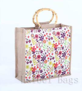 Red Colour Jute Shopping Bag with Full Logo Printing (hbjh-59) pictures & photos