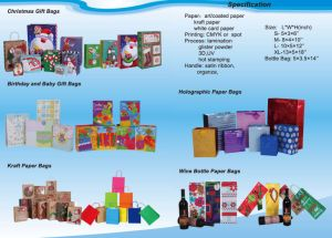 Shopping Carrier with Custom Prinitng and Rope Handle Handle Luxury Gift Paper Bag for Birthday pictures & photos
