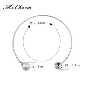 Fashion Trendy Simple Gold-Color Simulated-Pearl Crystal Necklace pictures & photos