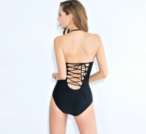 Custom Overalls Briefs Pure Color Black Slim Hot Springs Lady′s Swimwear pictures & photos
