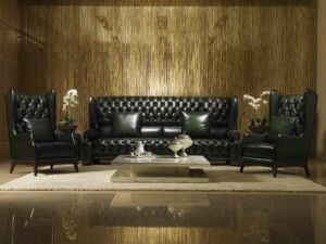 High Back Antique Chesterfield Leather Sofa Set (A1) pictures & photos