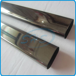 Stainless Steel Welded Flat Sided Oval Pipes (Tubes) with Titanium-Plated for Cars