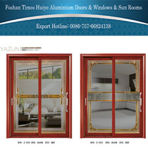 1.0mm~2.0mm Aluminum Hanging Door with Inlaid (Mosaic) Glasses pictures & photos