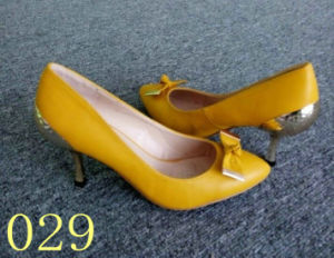 Fashion Yellow High Heel Shoes in Stock (029)