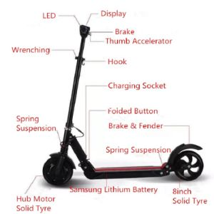 8inch Folding Electric Suspension Kick Scooter with LED pictures & photos