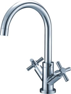 Double Handle Brass Kitchen Faucet
