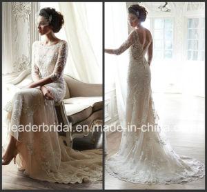3/4 Sleeves Nude Lining Bridal Gown Crystals Wedding Dress H2015MS pictures & photos