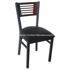 Metal Restaurant Furniture Steel Chair with Wood Back (ALL-209)