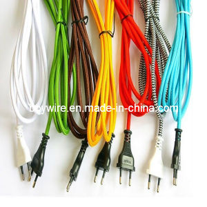 Textile Braided Power Cable Set Lamp Cord with Plug pictures & photos