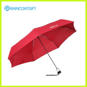 Lightweight Auto Open and Close Red 3 Folding Umbrella pictures & photos
