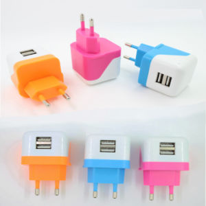 Colours 2100mA Tiny Plug-in USB Charger VDE for iPhone Wall Charger Smartphone iPad pictures & photos