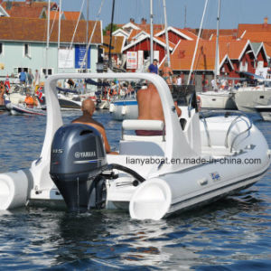 Liya 5.8m 17ft FRP Boat Rib Hypalon Inflatable Boat with Motor for Sale pictures & photos