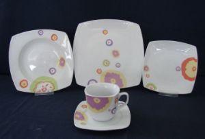 White Porcelain Cut Decal Ceramic Dinner Set