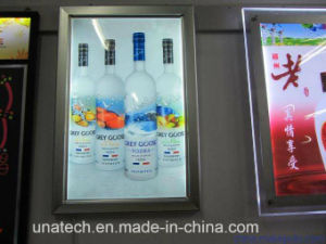 Window Display Flip-Open Super Slim LED 2835SMD Acrylic-Engraving Backlit Film Hanging PVC Light Box pictures & photos