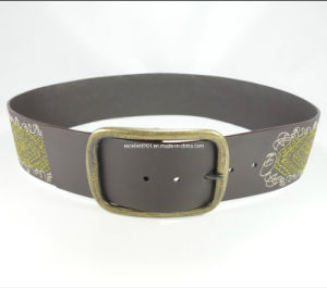 Embroidery Women Leather Waistband Belt