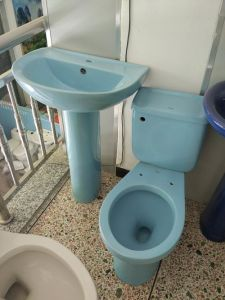 Blue Color Ceramic Twyford Toilet and Pedestal Basin pictures & photos