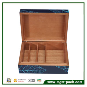 Blue Lacquer Cedarwood with Leaf Inlay Cigar Box pictures & photos