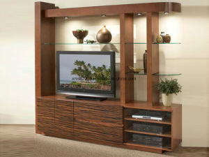 Modern Solid Wooden TV Cabinet with Side Showcase pictures & photos