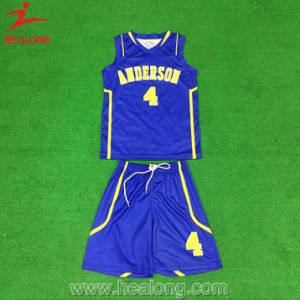 Blue and Yellow Full Sublimation with Mesh Fabric of Basketball Set pictures & photos