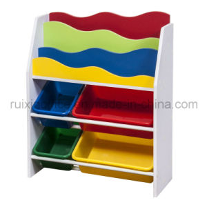 Hot Sale Wooden Kid Book Shelf /Magazine Rack/Toy Organizer (RX-E6116) pictures & photos