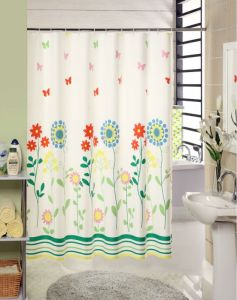 OEM New Elegant Flower Pattern PEVA Shower Curtain pictures & photos