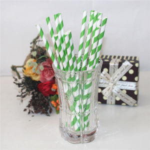 Green Striped Disposable Products Plastic Drinking Straw pictures & photos