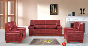 Hot Red Luxury European Office Leather Sofa (WP5-3007)