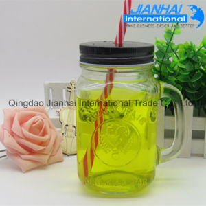 Manufacturer Food Grade Glass Mason Jar with Handle and Lid pictures & photos